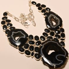 """BLACK BOTSWANA DRUZY & FACETED BLACK SPINEL - 925 SILVER JEWELRY NECKLACE 18"""""""