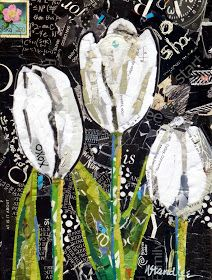 XOXO Tulips 13066   12x9 torn paper collage on gallery wrapped canvas    Available at Daily Paintworks click HERE     I liked the high he...