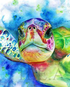 Sea Turtle Decor, Sea Turtle Art, Water Color Turtle, Watercolor Sea, Watercolor Paintings, Sea Turtle Painting, Arte Pop, Fish Art, Animal Paintings