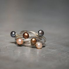 Pearly Stackables  Sterling Silver and Pearl Single by nadinessra, $36.00