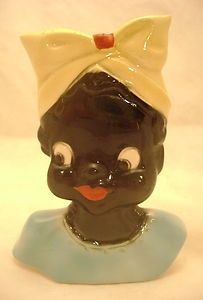 head wall pockets | ... McCoy ? Black Americana Ceramic Little Mammy Wall Pocket Head Vase