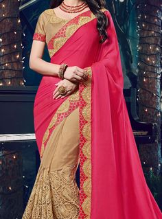 Buy Magenta Chiffon Half N Half Saree 96992 with blouse online at lowest price from vast collection of sarees at m.indianclothstore.c.
