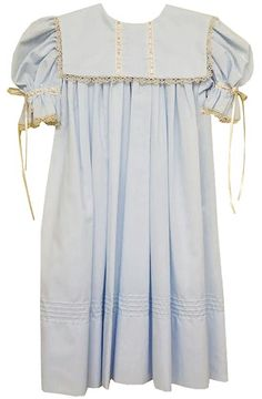 LaJenns Girl's Heirloom Dress in Blue with Square Collar, Ecru Lace and Ribbon