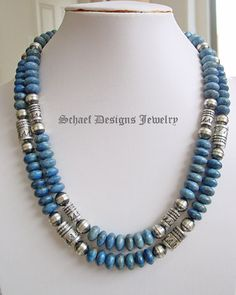Denim Lapis & Sterling Silver Tommy Singer style bead necklace set - I really like this one! Bead Jewellery, Stone Jewelry, Wire Jewelry, Jewelry Crafts, Jewelery, Handmade Jewelry, Jewelry Necklaces, Beaded Bracelets, Embroidery Bracelets