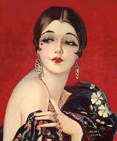 Art Deco Flapper Art Print 8 x 10 - Roaring - Jazz Age - Classy Pin Up with Bob Luxurious Art Deco Illustration, Vintage Illustrations, Art Deco Posters, Vintage Posters, Vintage Images, Vintage Art, Vintage Ladies, 1920s Makeup, Vintage Makeup