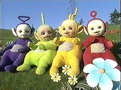 """Teletubbies, the Birtish BBC aired from 1997 to 2002 and targeted pre-school viewers. The show consists of four different colored Teletubbie friends that have televisions for stomachs and different shaped antennas. In the late 90's  both Britain and the United States where crazed with Teletubbie fever. The most embarrassing fact is that in Britain Teletubbies say """"Eh-oh!' reached number 1 in the UK singles charts in 1997… ouch."""