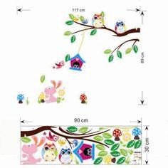 owls wall stickers kids bedroom decorations animals 1017. adesivo de parede cartoon home decals mural art baby children gift 4.0