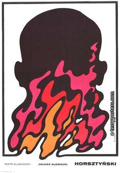 Polish Poster by Waldemar Swierzy HORSZTYNSKI: JULIUSZ SLOWACKI (TEATR KLASYCZNY) 1968