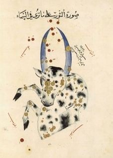 "Taurus as depicted in the astronomical treatise Book of Fixed Stars by the Persian astronomer Abd al-Rahman al-Sufi, c. 964. Mona Evans, ""Taurus the Bull"" http://www.bellaonline.com/articles/art300646.asp"