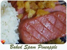 Get more Hawaiian style spam recipes here. Hawaiian Spam Recipes, Hawaiian Dishes, Pineapple Recipes, Filipino Recipes, Pork Recipes, Chicken Recipes, Cooking Recipes, Luncheon Meat Recipe
