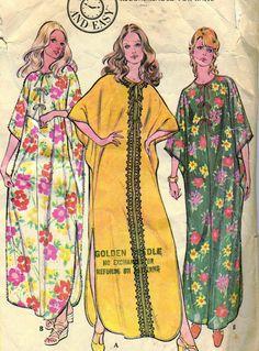 Vintage 1970s McCalls 3255 Misses Caftan Coverups by RomasMaison