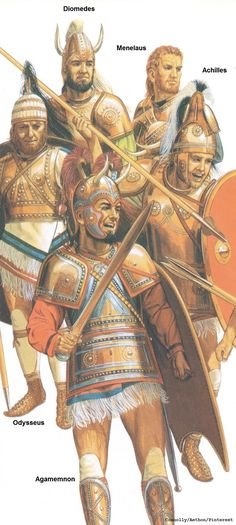 The Greek/Achaean Characters from Homer's Iliad: Odysseus, Diomedes, Menelaus, Agamemnon, & Achilles. Ancient Greek City, Ancient Greece, Ancient Art, Ancient History, Classical Greece, Classical Period, Mycenaean, Minoan, Greek History