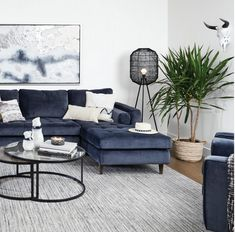 Madera Nesting Coffee Table Set -Oak Bay - buy in Urban Barn Blue Couch Living Room, Living Room Interior, Home Living Room, Living Room Designs, Living Room Decor, Living Room Inspiration, Room Colors, Interior Design, Decoration