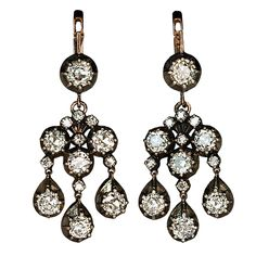 4.40 CTTW Antique Style Girandole Diamond Earrings Russian | From a unique collection of vintage chandelier earrings at http://www.1stdibs.com/jewelry/earrings/chandelier-earrings/
