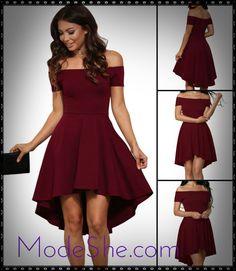 Burgundy Off Shoulder High Low Cocktail Party Dress