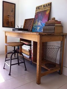 lovely rustic desk/office space *****I think this is it*****! Just a a drawer and shelf for the printer