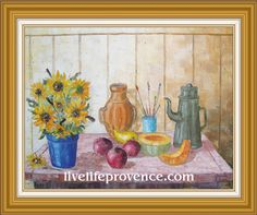 Decorate and Enjoy your Home with Provencal Fine artwork with Original Abstrait 	(Fleurs et Fruits) by renowned French Artist Philippe GIRAUDO.  	www.livelifeprovence.com #llprovence Abstrait, Fine Artwork, Painting, Artwork, French Artists, Original Artwork