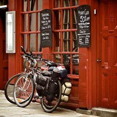 Bicycles on the British pub, Durham, United Kingdom Stock Photo