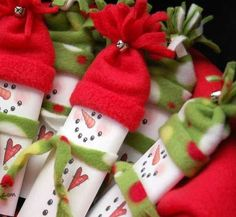 homemade candy christmas decortions | Simple DIY Christmas Gift Ideas - Candy Bar Wrapper Snowmen - Click ...