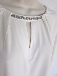 7ff375e26d LIZ CLAIROBRNE EMBELLISHED TOP XL white silver toned jeweled pleat sheer LS  #fashion #clothing #shoes #accessories #womensclothing #tops (ebay link)
