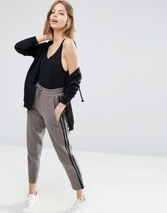 ASOS Textured Straight Leg Joggers with Side Stripes