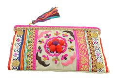 Simply stunning! this gorgeous clutch is intricately embroidered and embellished with multitude of colours and beads    - Main colours are pink, gold and beige    - Features little pom poms in the middle    - Tasteful mixture of embroidery and woven border