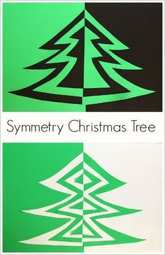 Paper Christmas Tree Symmetry Craft for Kids: Math and Art Holiday Activity using negative and positive space. ~ BuggyandBuddy.com