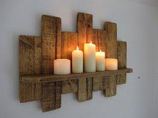 Reclaimed pallet wood floating shelf / led candle holder shabby chic / country cottage furniture régénérée palette flottante étagère en bois par TimberWizards More from my siteLoquita Rustic Hutch Loquita Rustic Hutch Loquita Hutch Shabby Chic Shelves, Rustic Shabby Chic, Rustic Wood Decor, Rustic Wood Furniture, Rustic Shelves, Painted Furniture, Wood Home Decor, Rustic Modern, Repair Wood Furniture