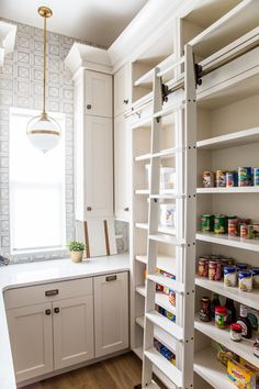 Kitchen Pantry Design, Kitchen Pantry Cabinets, Prep Kitchen, Kitchen Decor, Shaker Cabinets, Organized Kitchen, White Cabinets, Pantry Room, Sweet Home