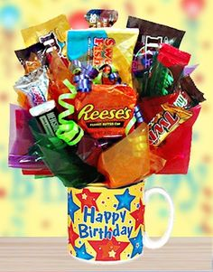 Happy Birthday Candy Mug for Him from All About Gifts and Baskets $30   great idea but I would make in plastic cups with child's name on it as party favors