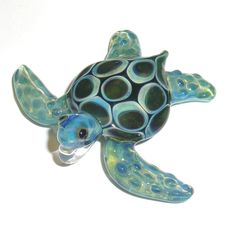 Lampwork Boro Glass Pendant  Focal Bead  Sea Turtle by jilleglass