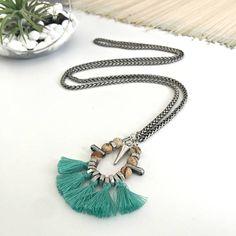 #turquoise #tassels #necklace #fringe #pendant #natural #stone #beads