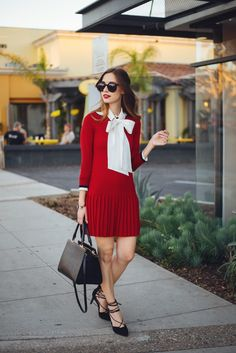 white bow blouse with red dress M Loves M @marmar