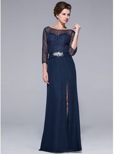 Sheath Off-the-Shoulder Floor-Length Chiffon Tulle Mother of the Bride Dress With Beading Sequins (018025501) - JJsHouse