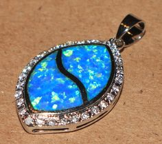 blue fire opal Cz necklace pendant Gemstone silver jewelry modern chic B18A #Pendant