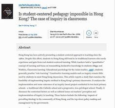Inquiry learning as a student-centered pedagogy