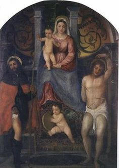 Francesco Vecellio said Titian Madonna and Child with Saints Rock and Sebastian with angel with harpsichord, 1510 - Domegge di Cadore, Belluno, the church of St. Rocco