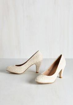 I'm Sew Excited Heel in Ivory. These darling cream heels have you dancing with delight! #cream #modcloth