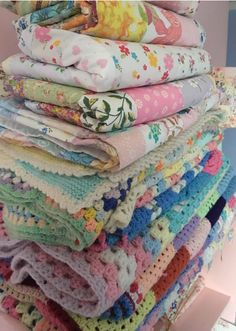 Patchwork quilts and crochet blankets