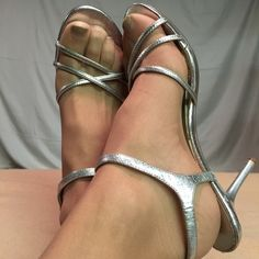 Steve Madden Sexy Silver Sandals These shoes have been gently worn and are in EXCELLENT CONDITION. The heel height of this shoe is 3.5 inches tall. Steve Madden Shoes Sandals