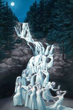 artwork of a waterfall
