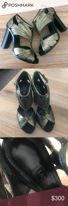 Authentic Lanvin Wood/Gold Heels These are so gorgeous! I️ will keep them is I️ don't get a decent offer. Just have too many shoes. Fits like 8.5 - 9. Lanvin Shoes