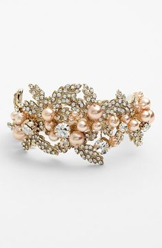 Nina 'Hallie' Faux Pearl & Crystal Bracelet available at #Nordstrom