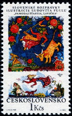 """Good Day, Little Bench,"" engraved by Ladislav Jirka., image of the six stamps in a set illustrating Slovak folk tales, designed by Slovak painter and graphic artist L'udovνt Fulla (1902-1980). Stamp from Czechoslovakia circa 1968"