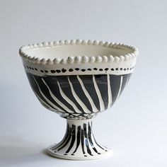 Black and White Diagonal Square Footed Bowl | Frances Palmer Pottery