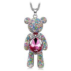 "J.NINA ""Bear Princess"" with Pink SWAROVSKI ELEMENTS Crystal Cute Bear-shaped Design Women Jewelry Necklace Pendant *The Best Present for Your Daughter or Your Wife*	by J.NINA"
