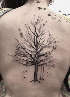 coolTop Body - Tattoo's - Tree Swing Tattoo by Frank Carrilho Sketch Style Tattoos, Line Art Tattoos, Tattoo Sketches, Tree Tattoo Meaning, Oak Tree Tattoo, Tree Tattoos, Tatuajes Tattoos, Bild Tattoos, Tattos