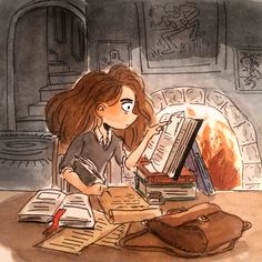 Hermione Granger by Michelle Hiraishi (this is what I look like while studying too)