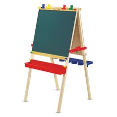 Melissa & Doug Deluxe Wooden Standing Art Easel features a chalkboard on one side and a dry-erase board on the other. Easels For Sale, Paper Roll Holders, Art Easel, Wooden Easel, Tim Beta, Art Desk, Toddler Art, Toddler Easel, Melissa & Doug