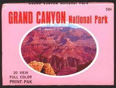 GRAND CANYON NATIONAL PARK 20 VIEW PRINT PAK: Roughly 3 x 4.25 inch mini post card souvenir from 1969, cards average NM condition, all color. The slipcase sleeve these come is in Ex/M condition, only one minor corner ding. The 20 cards show various shots of the canyon from the rim, also the Kaibab suspension bridge and the Watchtower, slipcase cover shown. $10